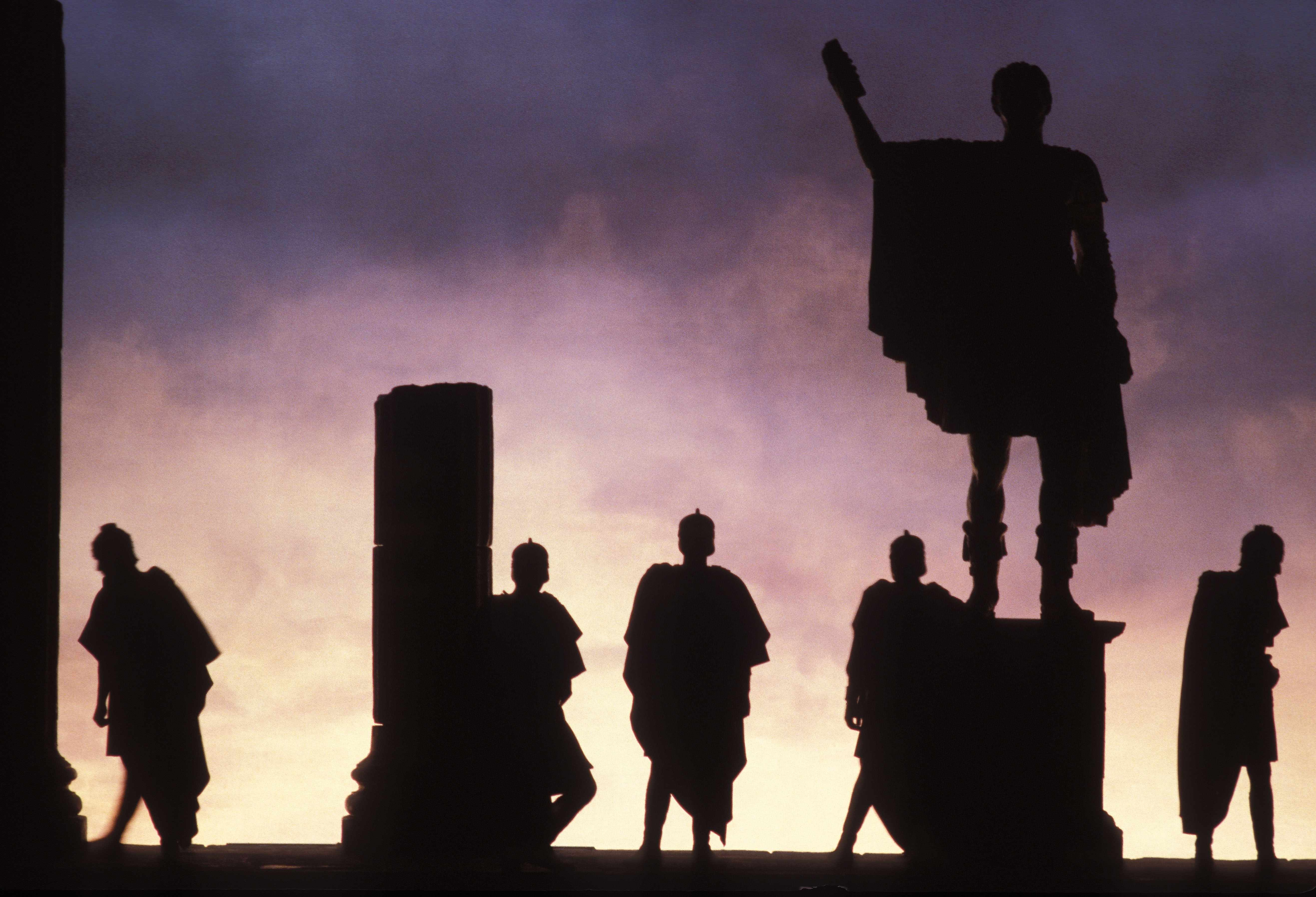 A 1985 production of 'Julius Caesar'. For all their despotism, Romans thanked their first three emperors for delivering them from the curse of civil war. (Photo by Jean-Jacques BERNIER/Gamma-Rapho via Getty Images)