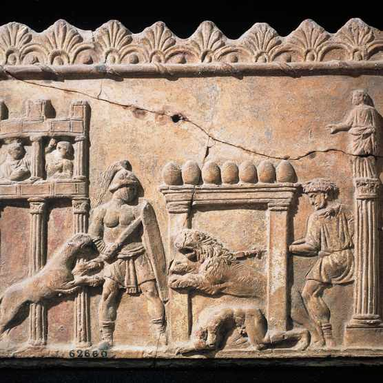 Roman civilization, Relief portraying gladiators and lions fighting in circus