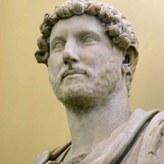 A marble bust of the Emperor Hadrian who ruled from AD 117 to 138