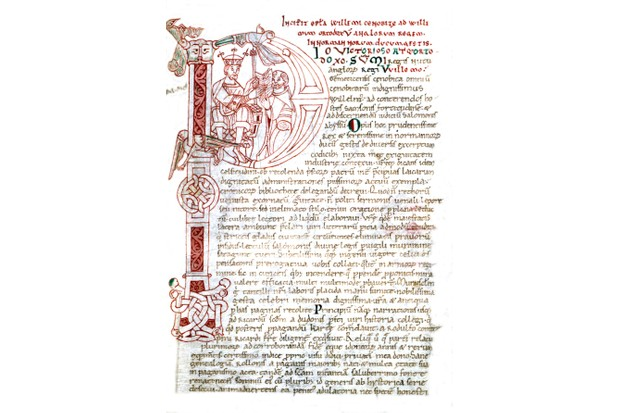Guillaume de Jumieges, Cesta Normanorum, f° 116, letter with dropped initial, William the Conqueror receives the chronicler's manuscript, 11th century, France, Rouen, Bibliotheque Municipale.