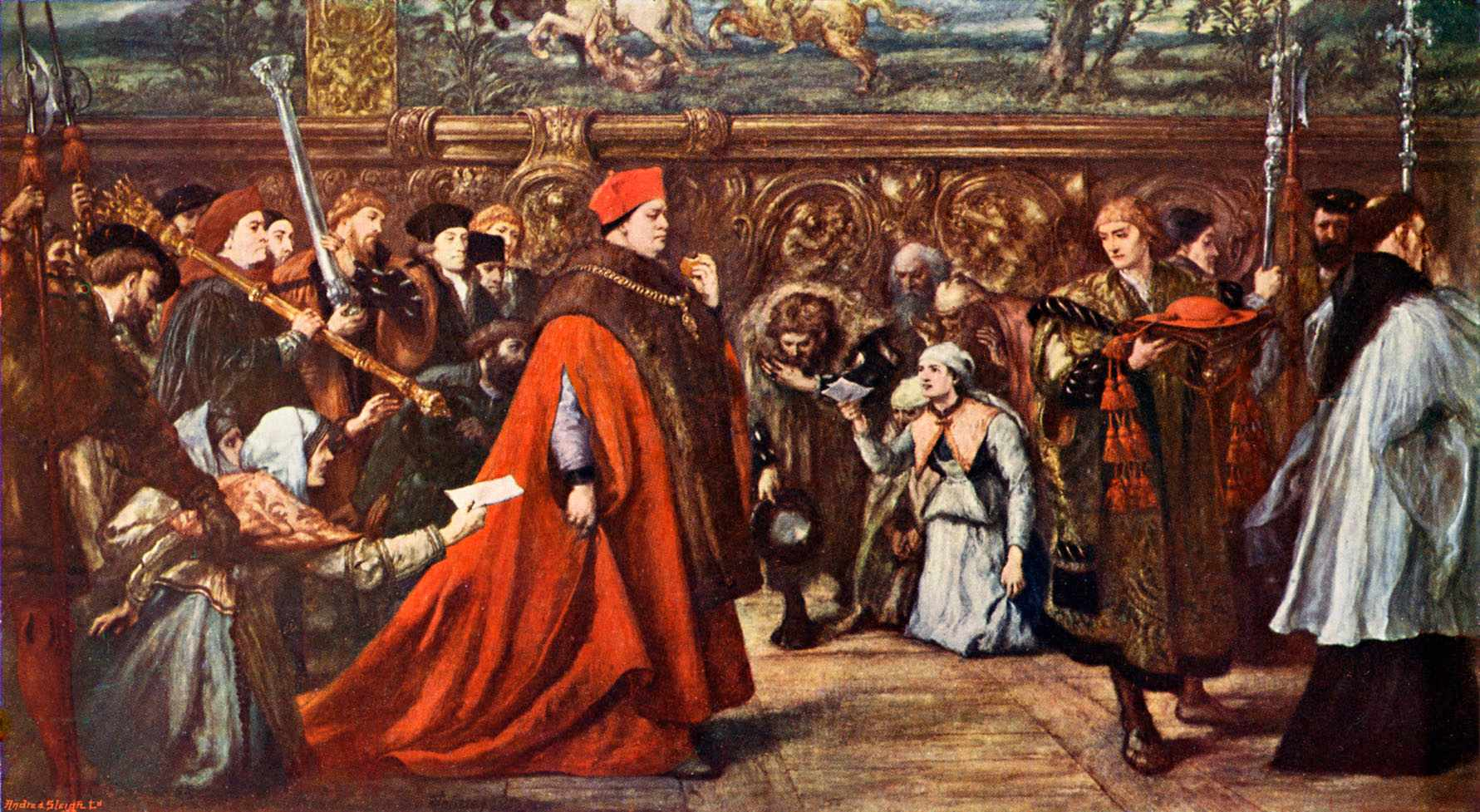 Cardinal Wolsey going in procession to Westminster Hall. Reproduced from the original by Sir John Gilbert in 1886-7. (Photo by Culture Club/Getty Images)