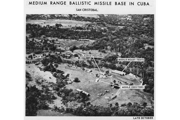 Aerial spy photos of a ballistic missile base at San Cristobal, Cuba, October 1962. President Kennedy rejected advice to order an air strike on Soviet missile sites. (Photo by Hulton Archive/Getty Images)