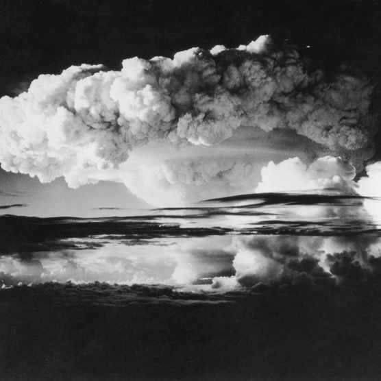 Sky covered by smoke from the first H-Bomb explosion at Eniwetok Atoll in the Pacific, 1 April 1954. (Photo by Keystone/Getty Images)