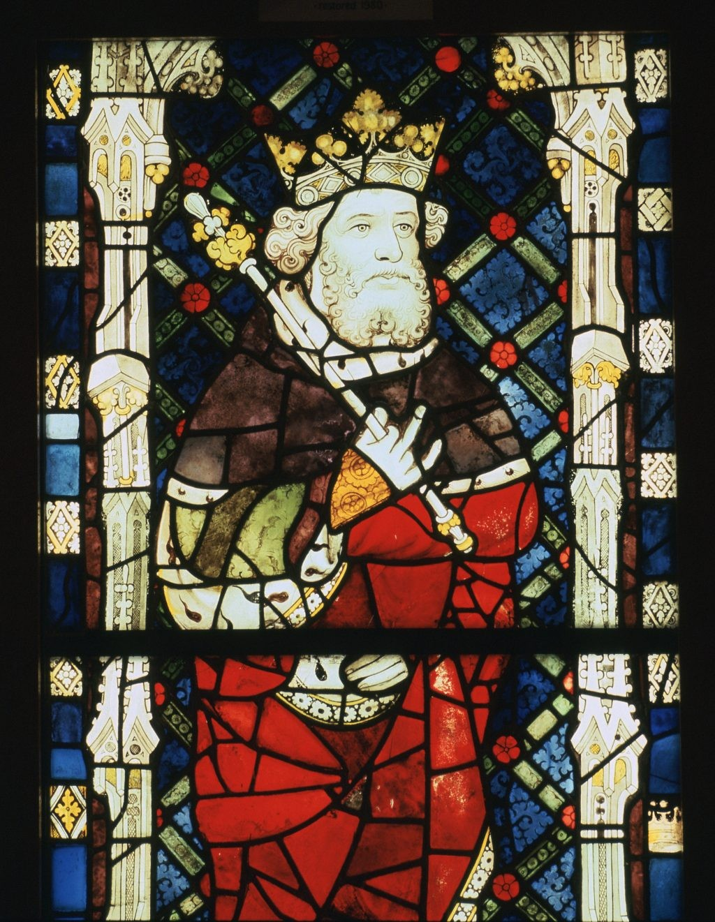 A 15th-century stained glass window from Canterbury Cathedral, depicting King Cnut. (CM Dixon/Print Collector/Getty Images) (Photo by CM Dixon/Print Collector/Getty Images)