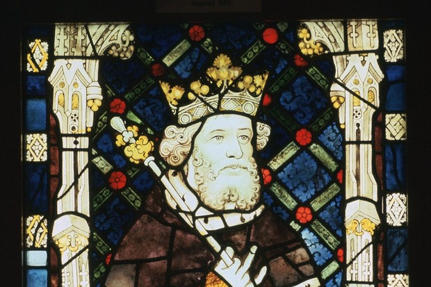 A 15th-century stained glass window from Canterbury Cathedral, depicting King Cnut.