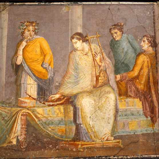 A Pompeian fresco from the first century showing a woman tuning a musical instrument. Excavations at the partially buried Roman city reveal that women played a prominent role in the home, and that they took personal grooming very seriously indeed. (Photo by: Werner Forman/UIG via Getty Images)