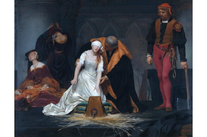 Paul Delaroche's heavily idealised depiction of Lady Jane Grey's final moments, painted in 1833, shows Jane being guided to the block by Sir John Brydges, lieutenant of the Tower. The painting is given even greater poignancy by the fact that two of Jane's ladies are shown weeping and that even Jane's executioner is moved to avert his eyes. (VCG Wilson/Corbis via Getty Images)