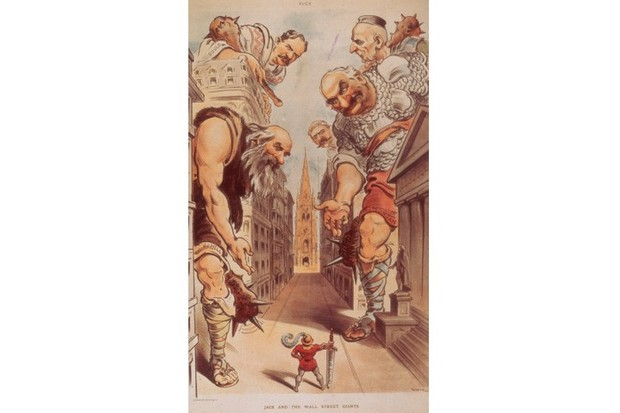 Political cartoon by Udo J Keppler with the caption 'Jack And The Wall Street Giants,' which appeared in Puck magazine c1904. The cartoon depicts US president Theodore Roosevelt holding a sword that says 'public service' as he faces the great robber barons of the day. (Photo by Fotosearch/Getty Images)