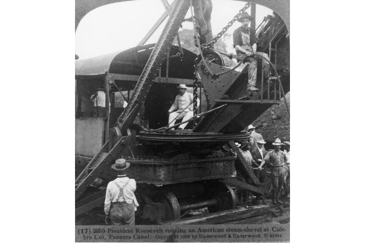 President Theodore Roosevelt operating an American steam-shovel at the Culebra Cut, Panama Canal, Panama, circa 1906. (Photo by Fotosearch/Getty Images).