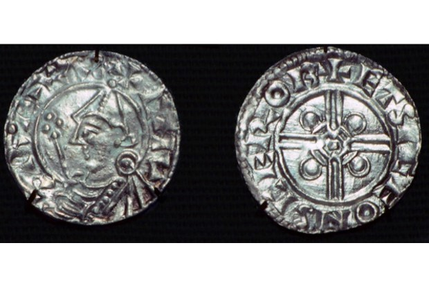 Silver penny depicting Cnut. (CM Dixon/Print Collector/Getty Images)
