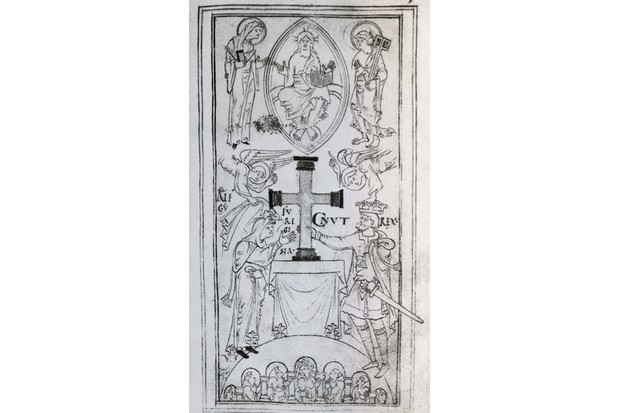 Cnut and his wife Emma, in an engraving from an 11th-century manuscript. (DeAgostini/Getty Images)