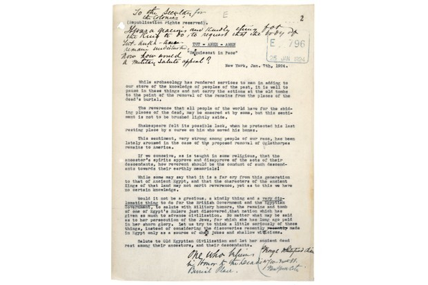A letter describing the discover of Tutankhamun's tomb. (National Archives)