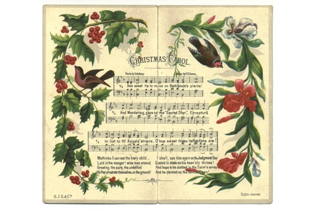 A Christmas carols greeting card received 1893. (Photo by Amoret Tanner/Alamy Stock Photo)