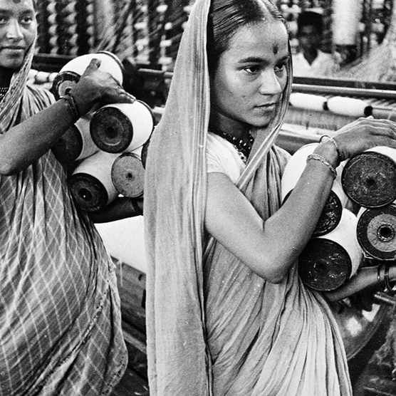Young women working in a textile mill in Bombay (now Mumbai) in 1943