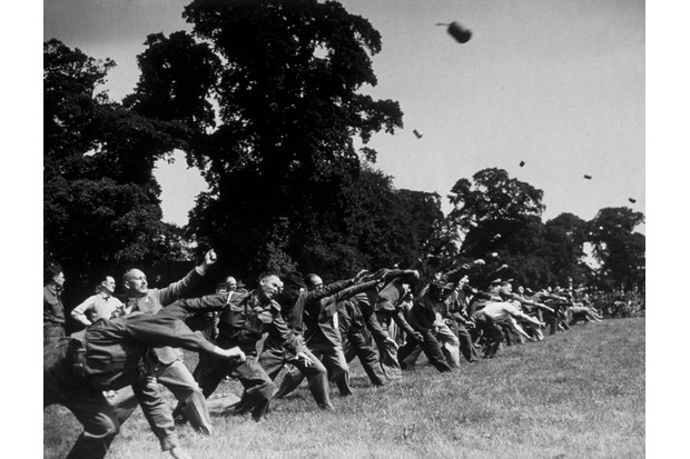 Members of the Home Guard practise their hand grenade-throwing skills