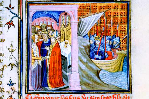 A scene from the Chronique de St Denis depicting the marriage of Eleanor of Aquitaine and Louis VII of France, 1137. (Photo by Ann Ronan Pictures/Print Collector/Getty Images)