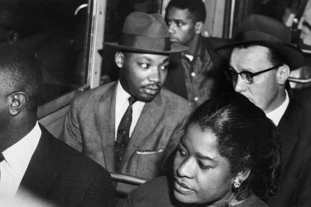 Martin Luther King (centre) rides the Montgomery bus with Rev Glenn Smiley of Texas. (Getty Images)