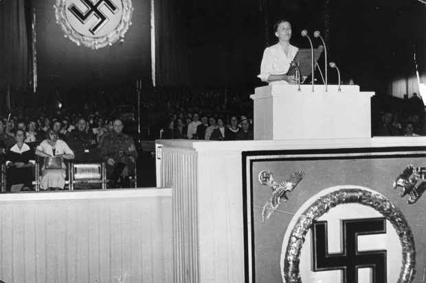 Gertrud Scholtz-Klink, speaking at a Nazi rally in 1936. (Photo by ullstein bild / ullstein bild via Getty Images)