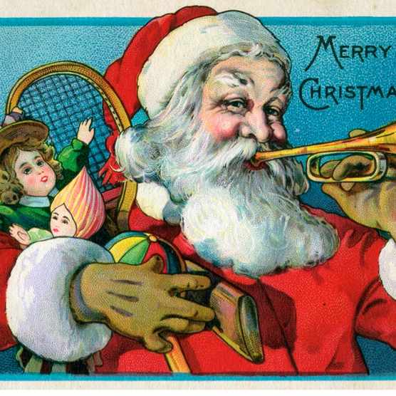 'Merry Christmas' Victorian illustration of Santa Claus holding toys and blowing on a trumpet, chromolithograph, 1915. (Illustration by GraphicaArtis/Getty Images)