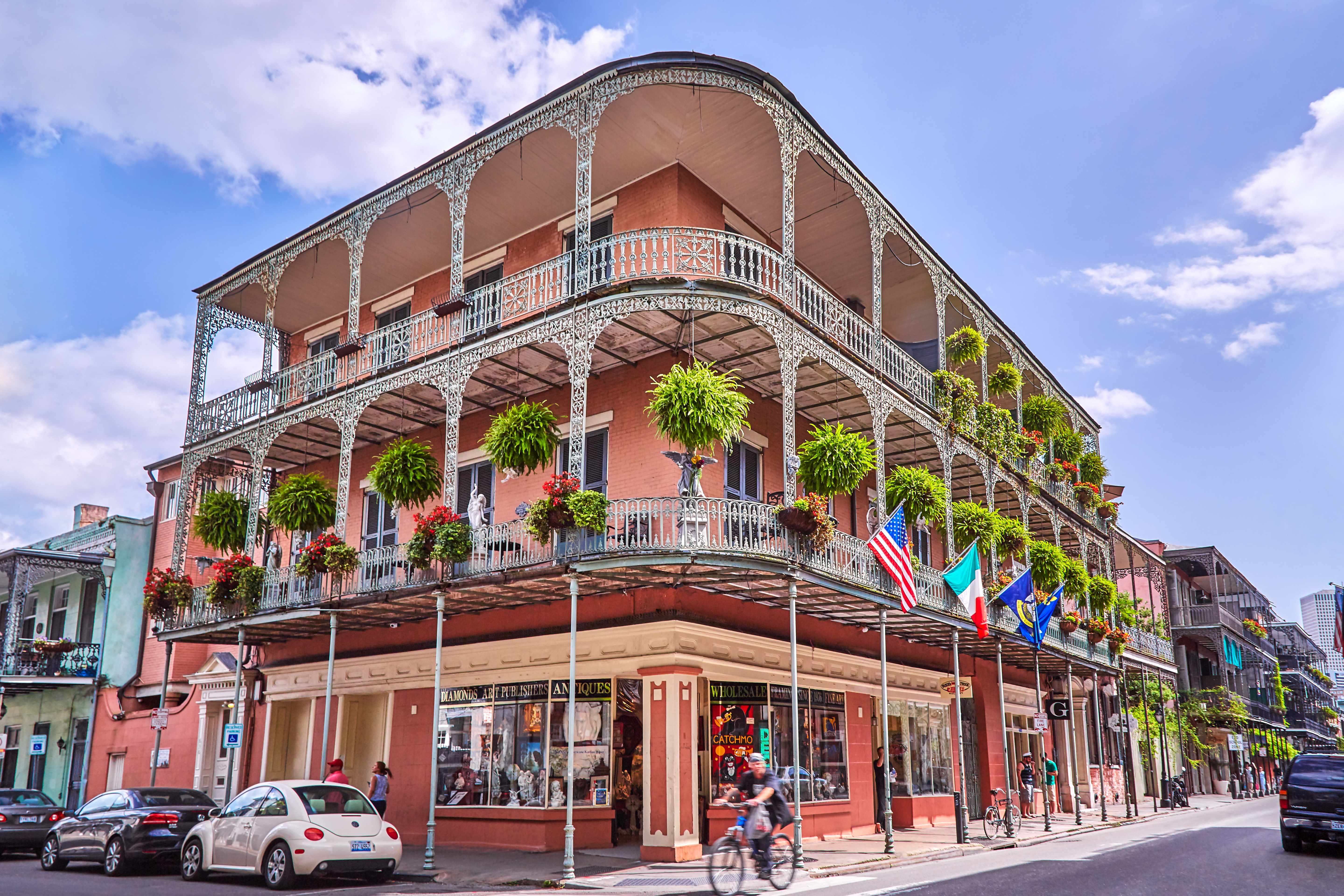 Wrought iron lace adorns many old buildings and houses in the streets of New Orleans. (Getty Images)