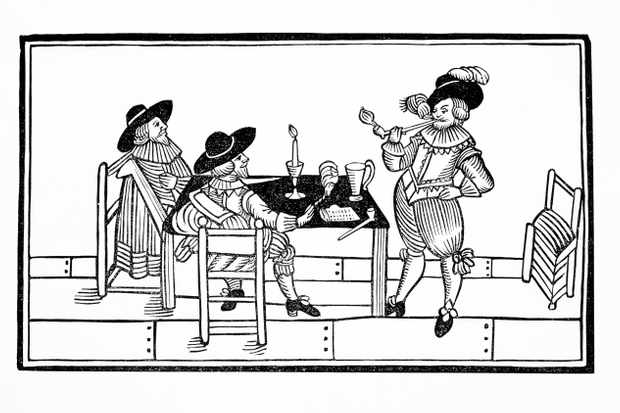 Vintners in an ale house, 1642. From a broadsheet titled 'Health to All', artist unknown. (Photo by Historica Graphica Collection/Heritage Images/Getty Images)