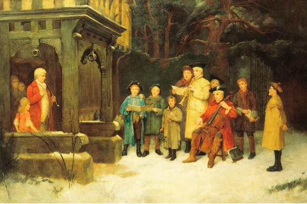 a group of carol singers on a wintry night at christmas time c1890