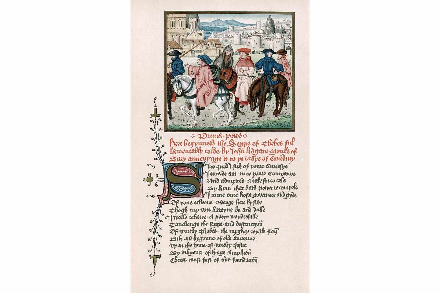 Canterbury pilgrims from John of Lydgate's 'Story of Thebes' written c1420. (Photo by Photo 12/UIG via Getty Images)