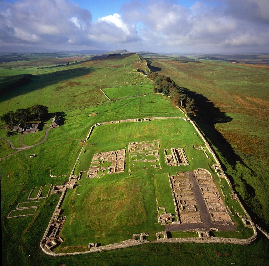 Aerial view of the Roman fort of Vercovicium