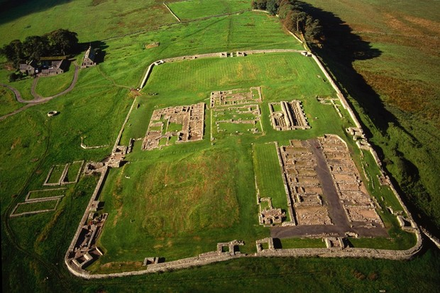 Aerial view of the Roman fort of Vercovicium