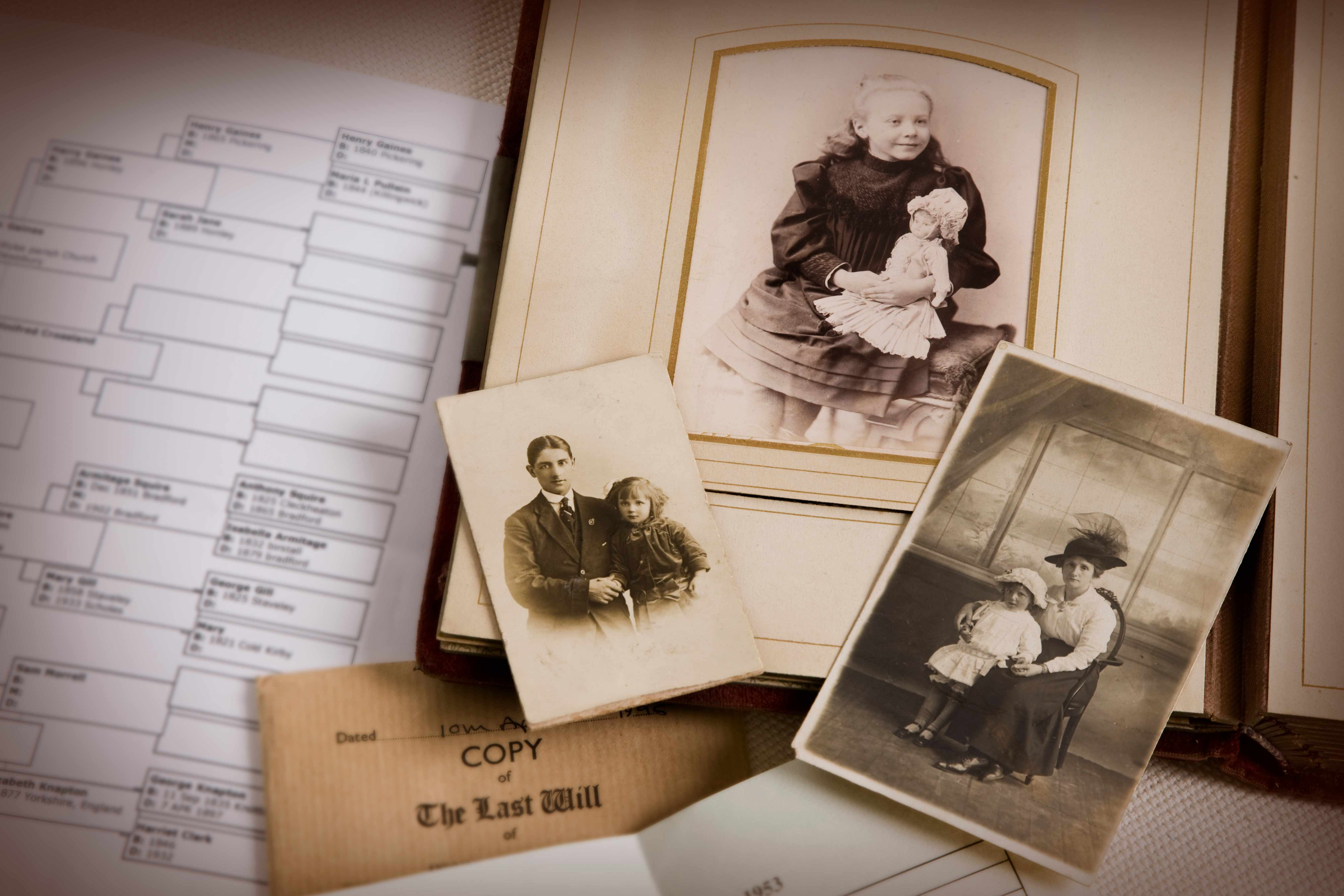 Vintage family photo album and documents. (Getty Images)