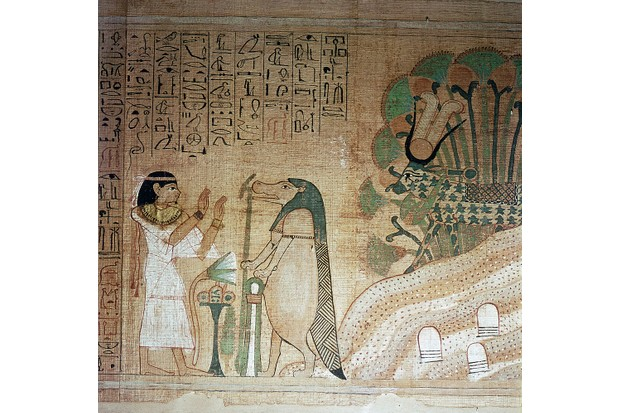 The Book of the Dead of Userhetmos, The dead woman prays to the hippopotamus goddess Taweret.
