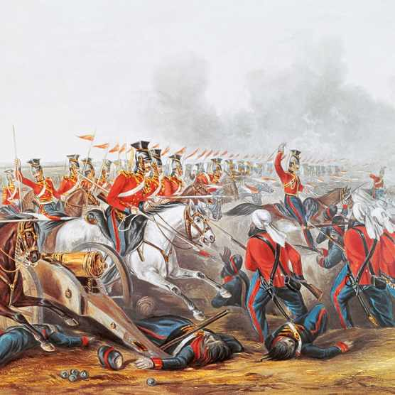 English cavalry attacking the Sikh at the Battle of Aliwal