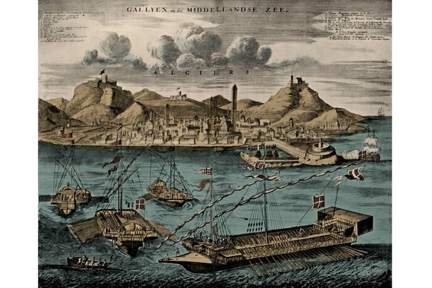View of Algiers with mediterranean galleys, published in Johannes van Keulen's Dutch Atlas, 1709. (Photo by Culture Club/Getty Images)