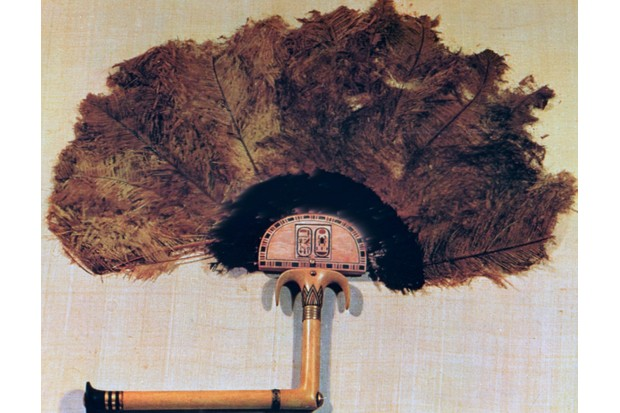 An ivory fan trimmed with ostrich feathers, discovered in Tutankhamun's tomb and today kept at the Cairo Museum, Egypt. (Photo by Art Media/Print Collector/Getty Images)