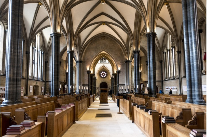 The Temple Church, London, a late 12th-century church built for and by the Knights Templar. (Photo by LatitudeStock - David Williams/Getty Images)