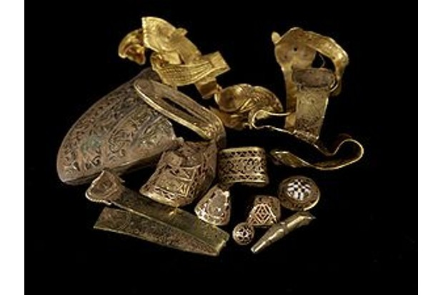 Finds from the Staffordshire Hoard which was discovered in 2009, the largest hoard of Anglo-Saxon gold and silver metalwork yet found. (Birmingham Museum)