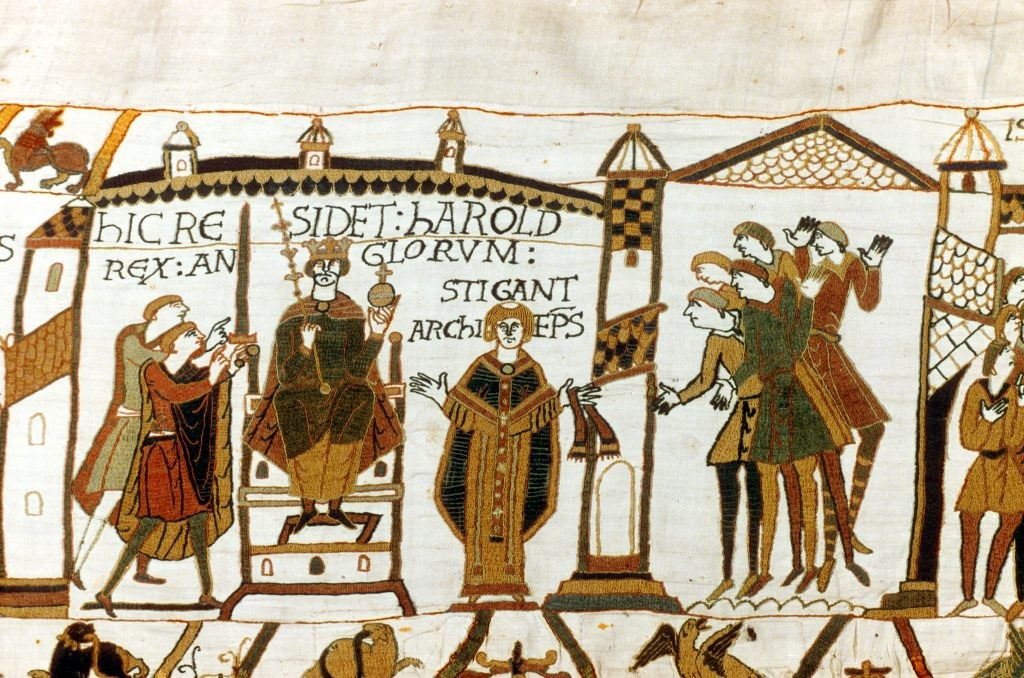 A section of the Bayeux Tapestry depicting Harold Godwinson being crowned king of England. Harold was the last Anglo-Saxon king of England and was killed by William, Duke of Normandy at the battle of Hastings in 1066. (Photo by Universal History Archive/Getty Images)