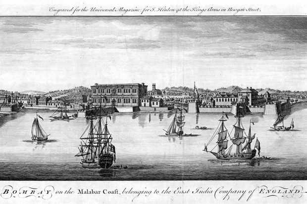 Bombay, the East India Company's port on the Malabar Coast of India, 1755. Company trading vessels are depicted in the foreground and quayside warehouses and buildings behind. (Photo by Ann Ronan Pictures/Print Collector/Getty Images)