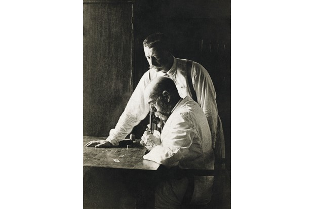 Dr Robert Koch (seated), influential in developing 'germ theory',