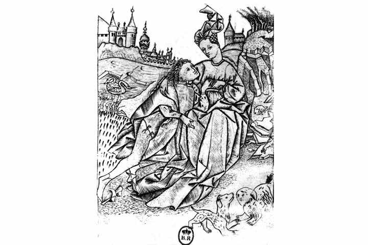Anonymous engraving, master of the garden of love, 15th century, France, Paris, Bibliothèque Nationale. (Photo by: Photo12/UIG via Getty Images)
