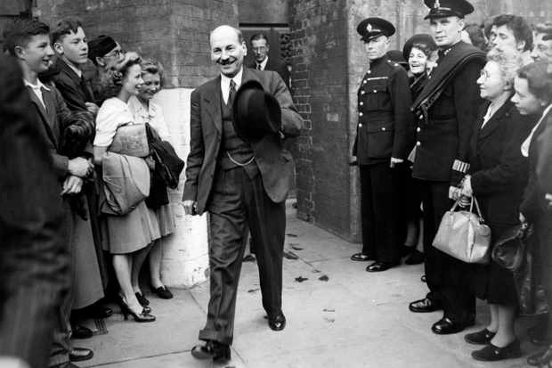 British leader of the Labour Party Clement Attlee leaves the Treasury, 27 May 1945. (Photo by AFP/Getty Images)