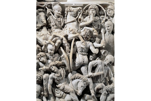 Grande Ludovisi sarcophagus, front marble relief depicting battle between Romans and Ostrogoths