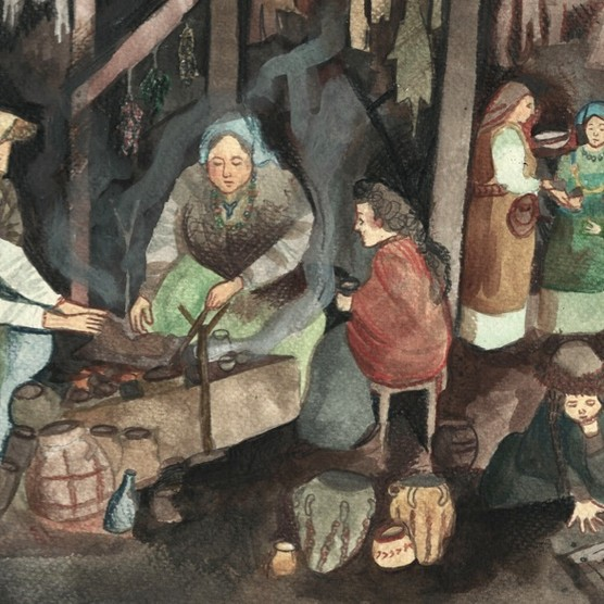 Viking women in the home. (Illustrations by Laura Grace Haines)