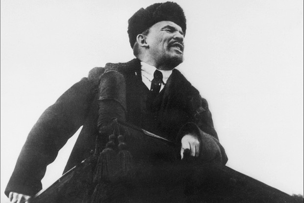 Lenin addressing supporters, in October 1917, on the first anniversary of the Bolshevik revolution