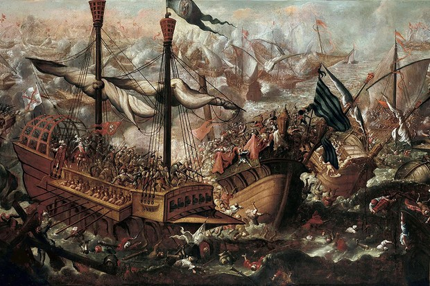 The Battle of Lepanto between Holy League soldiers and Ottoman troops