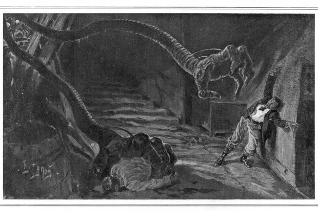 An illustration of the novel 'The War of the Worlds' by HG Wells, made by Henri Lanos, 1905. (Photo by Keystone-France/Gamma-Keystone via Getty Images)