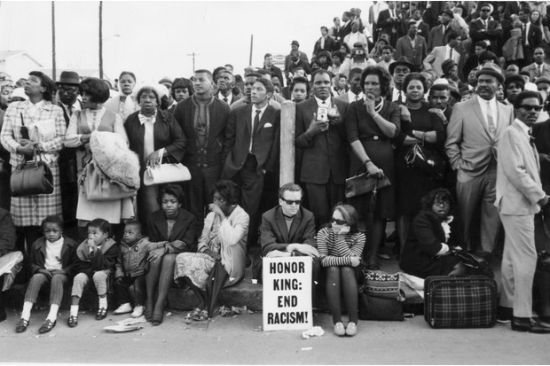 Mourners await Martin Luther King's funeral cortege, 1968. (Hulton Archive/Getty)