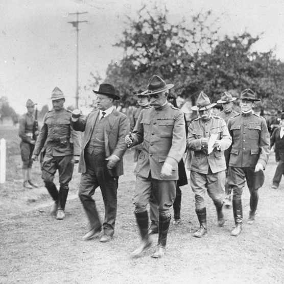 Theodore Roosevelt visiting a US army camp, c1918. (Photo by The LIFE Picture Collection/Getty Images)