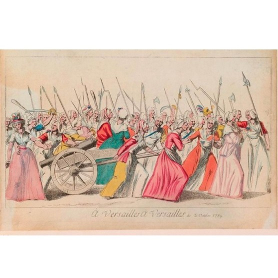 rint of the market women's march to Versailles. A large group of women carry axes, pikes, clubs, scythes, swords and firearms mounted with bayonets; in the centre, two women are towing a cannon. (The National Trust, Waddesdon Manor)