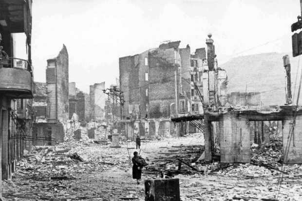 The Spanish town of Guernica after the bombing by German and Italian aircraft, 1937. (Photo by Universal History Archive/UIG via Getty Images)